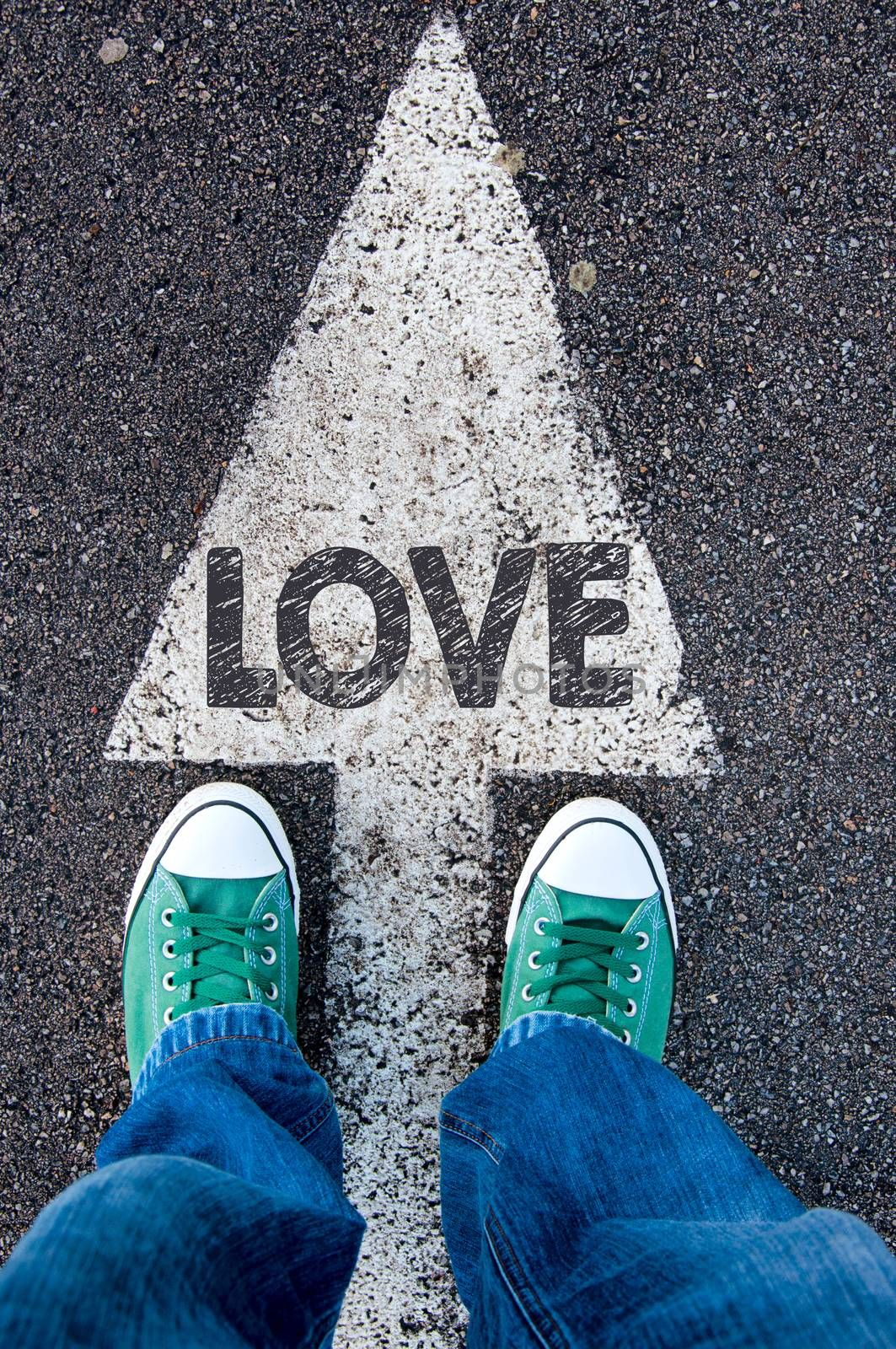 Green shoes standing on your love sign