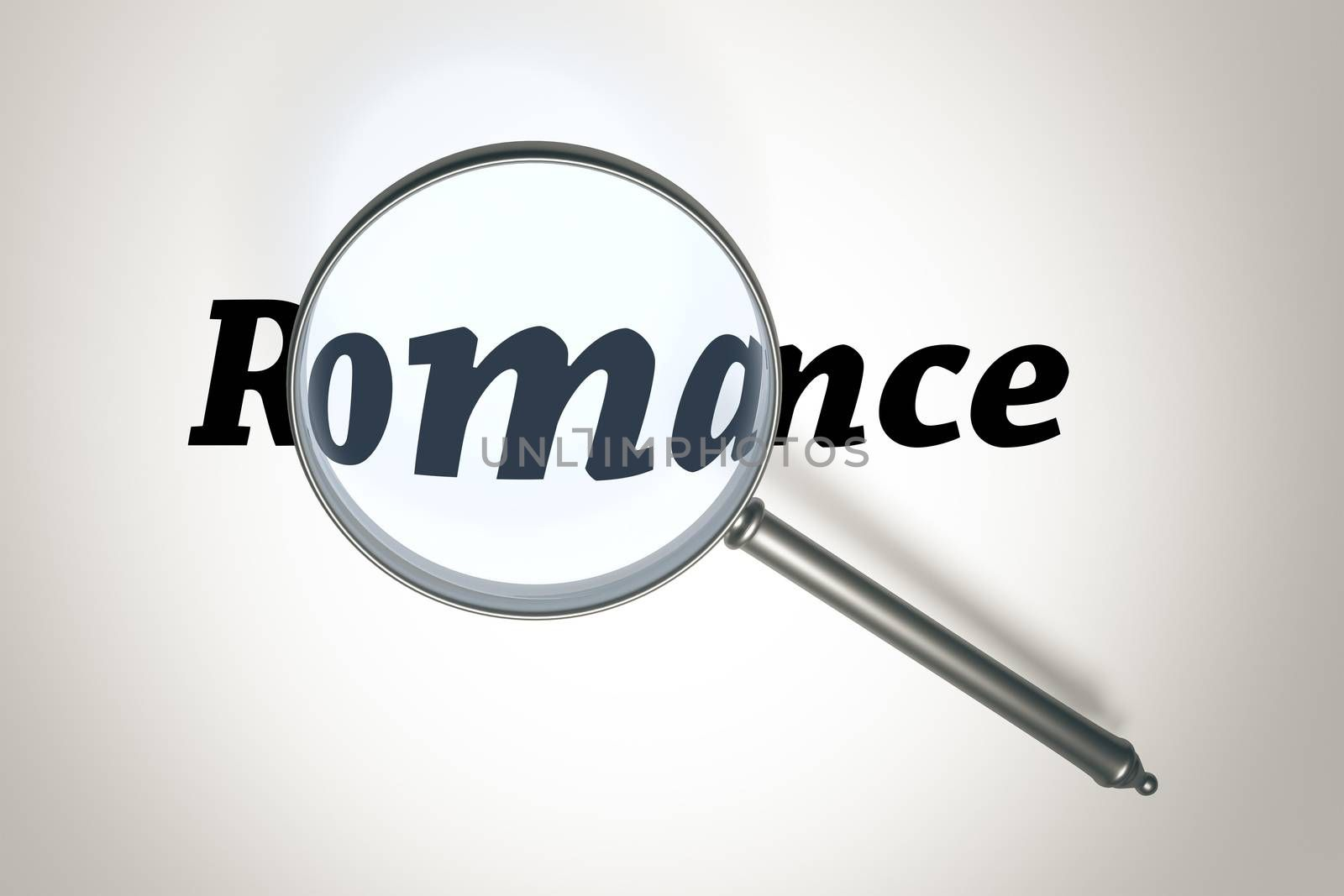 An image of a magnifying glass and the word romance