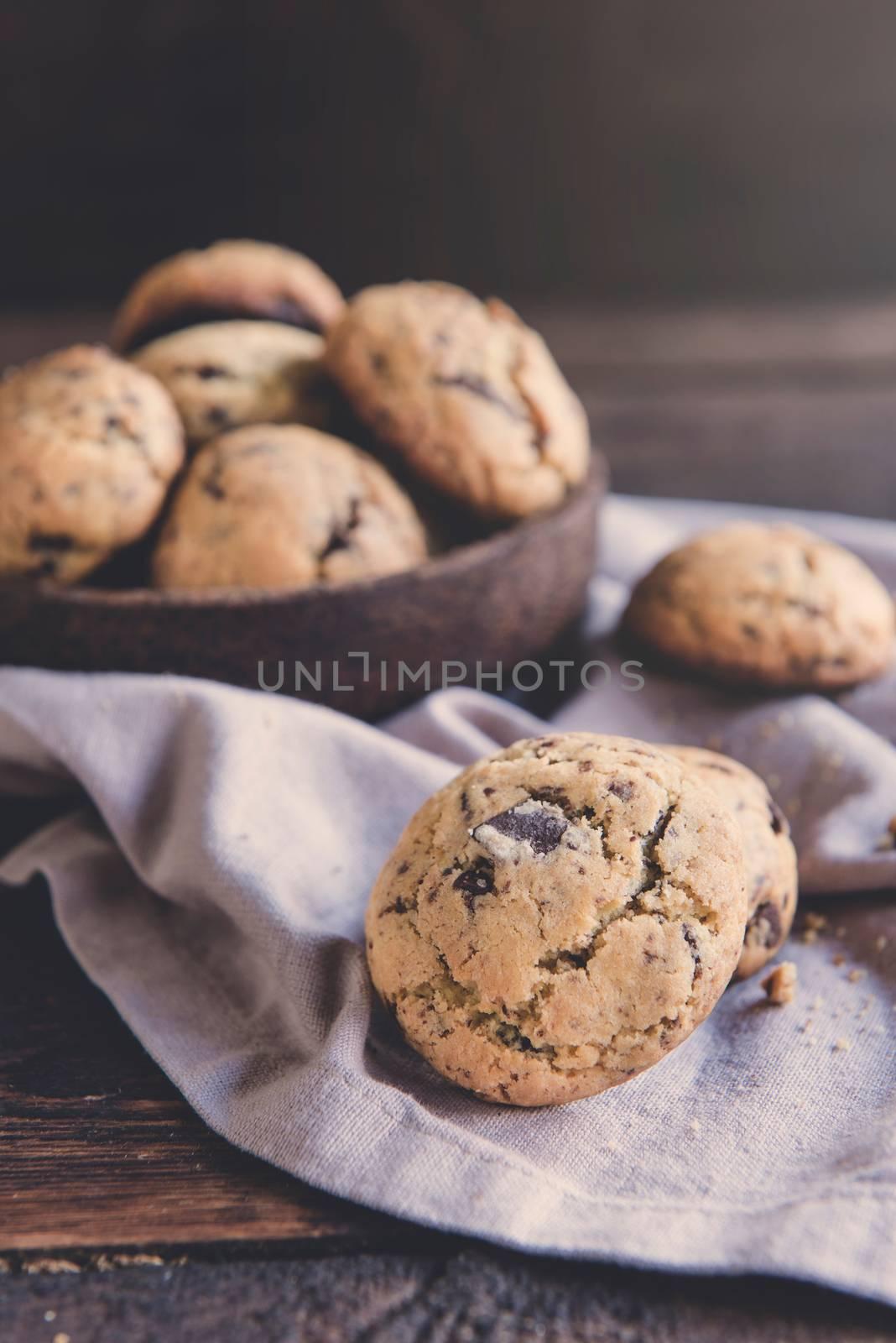 Mini chcocolate chip cookies,selective focus