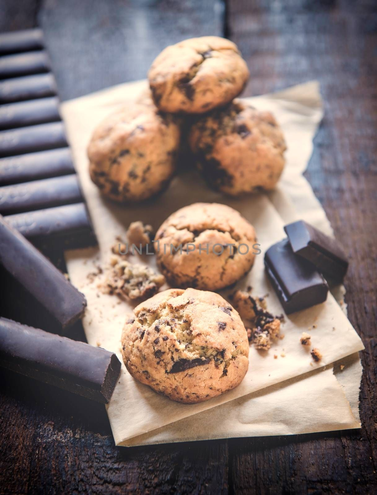 Sweet homemade chocolate chip cookies on wooden background,selective focus