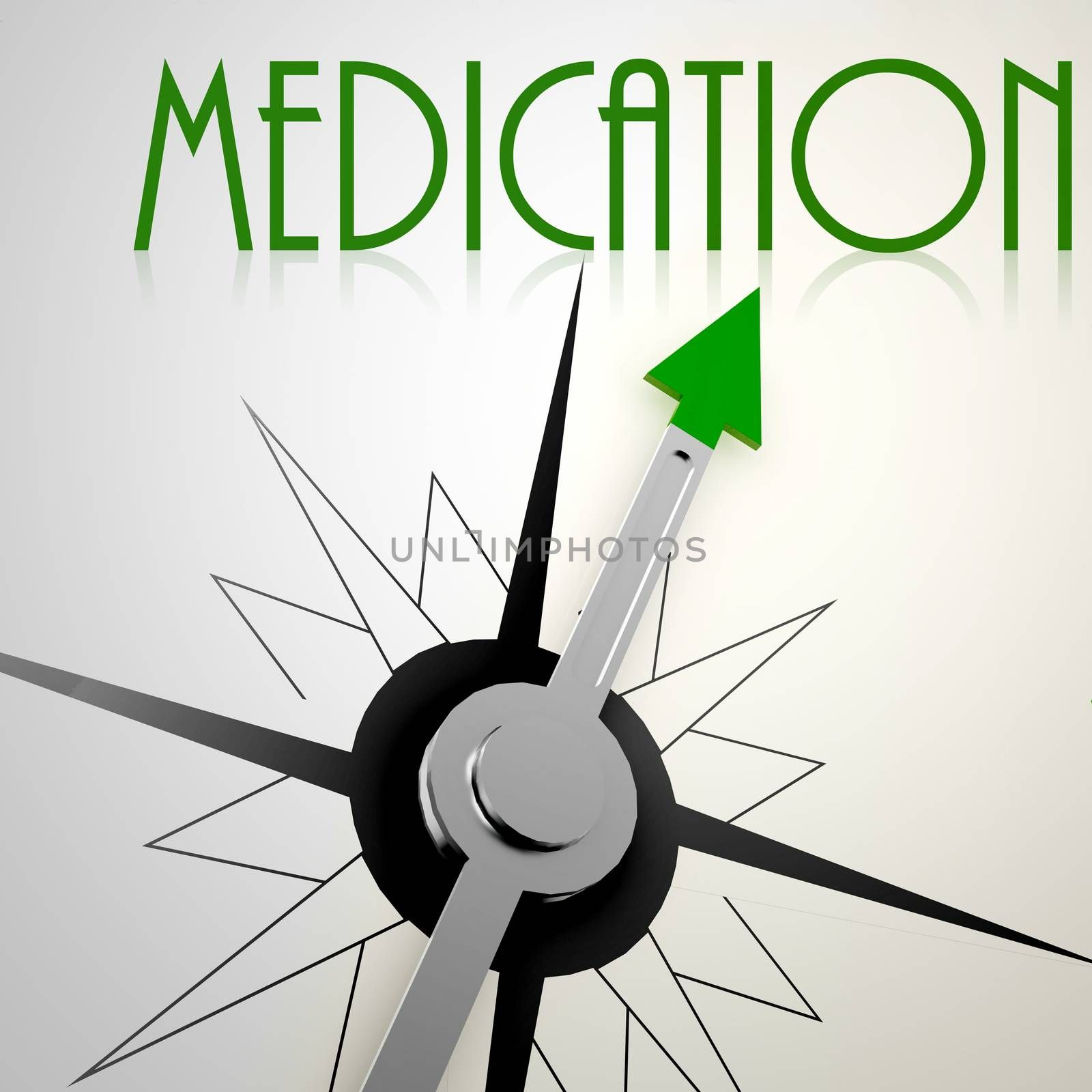 Medication on green compass. Concept of healthy lifestyle