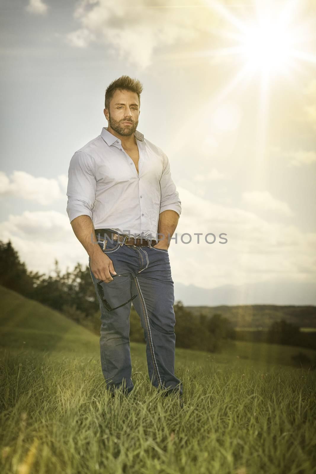 An image of a man outdoors sun