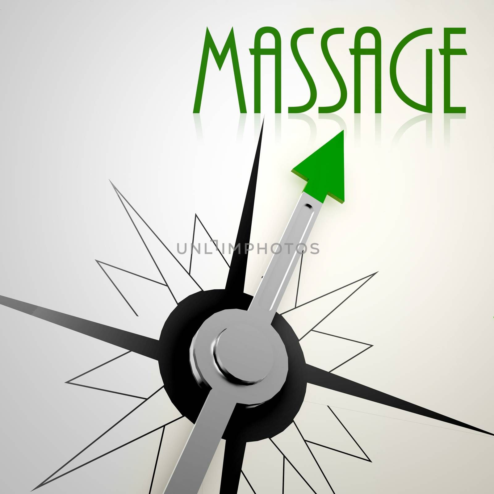 Massage on green compass. Concept of healthy lifestyle