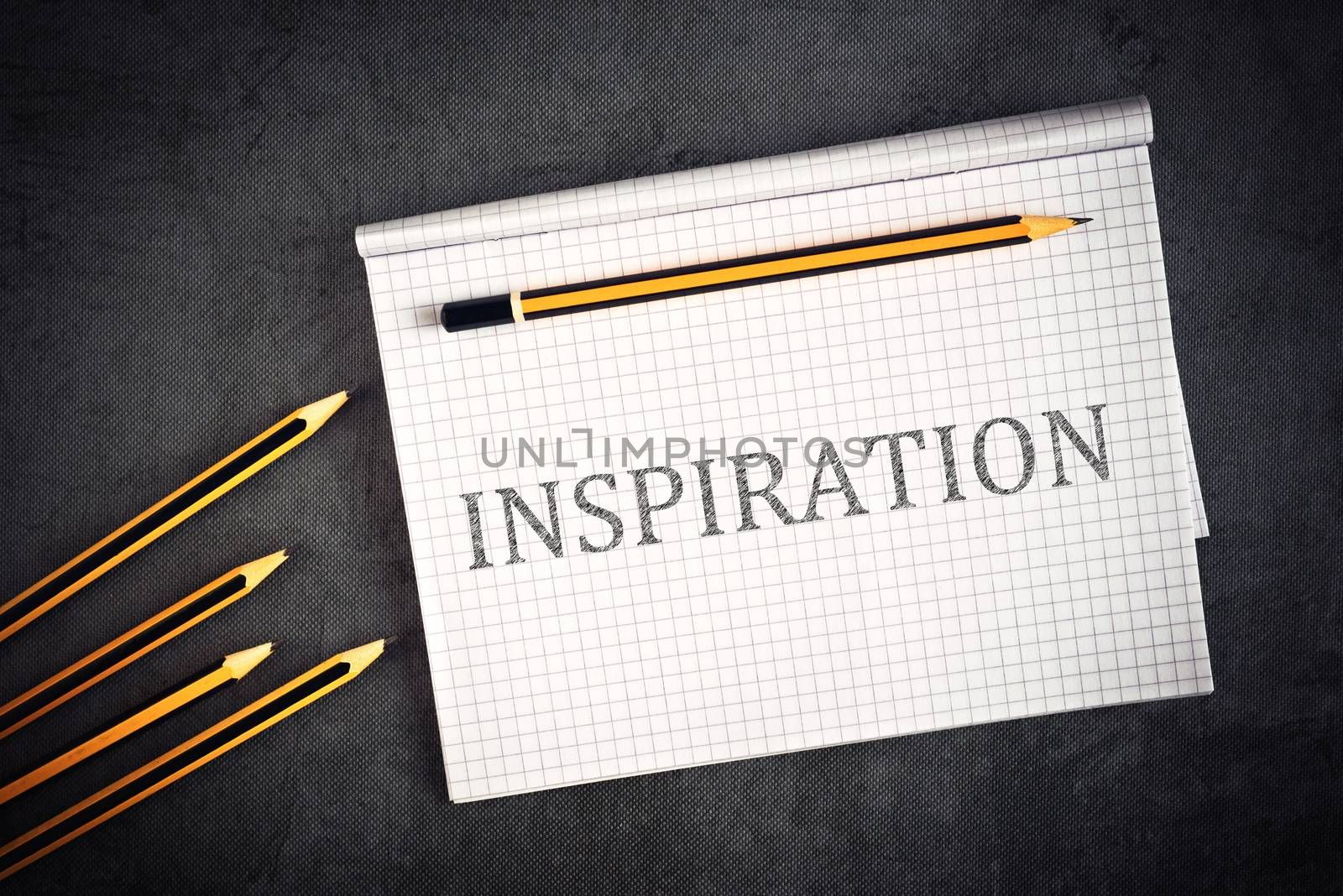 Inspiration Concept with Pencils And Notepad Page, Top View.