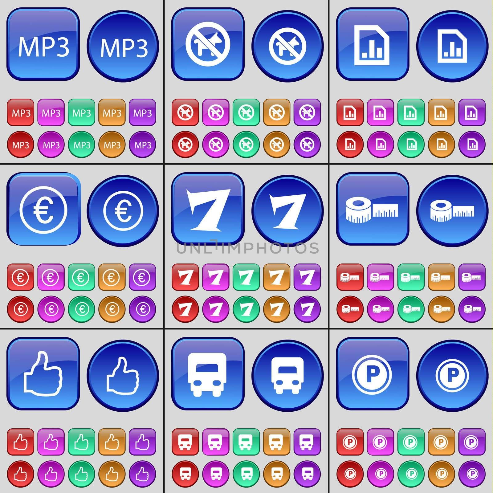 MP3, No pets allowed, Diagram, Euro, Seven, Tape measure, Like, Truck, Parking. A large set of multi-colored buttons. illustration