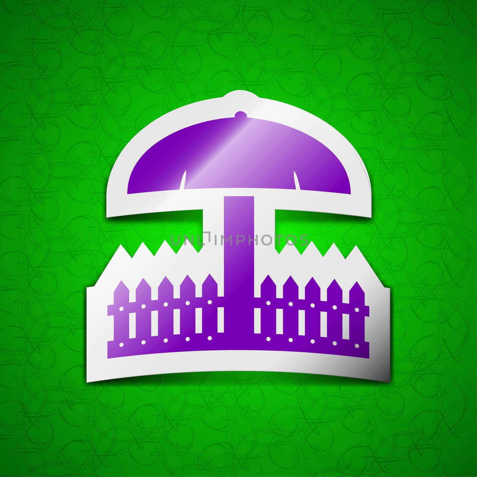 Sandbox icon sign. Symbol chic colored sticky label on green background. illustration