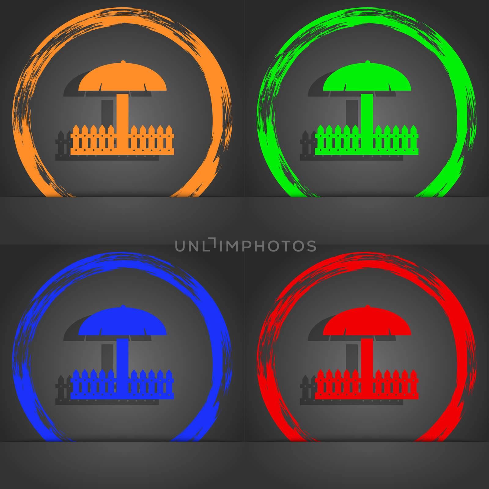 Sandbox icon sign. Fashionable modern style. In the orange, green, blue, red design. illustration