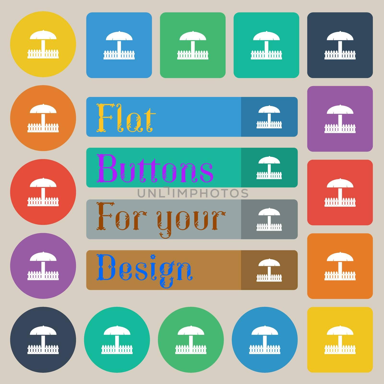 Sandbox icon sign. Set of twenty colored flat, round, square and rectangular buttons. illustration
