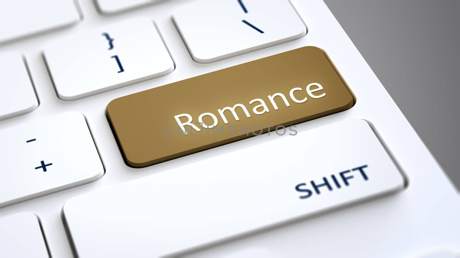 An image of a computer keyboard with text romance