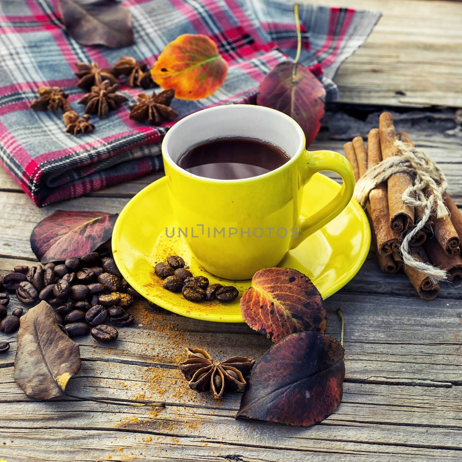 Cup of black coffee on background with warm blanket strewn with autumn leaves