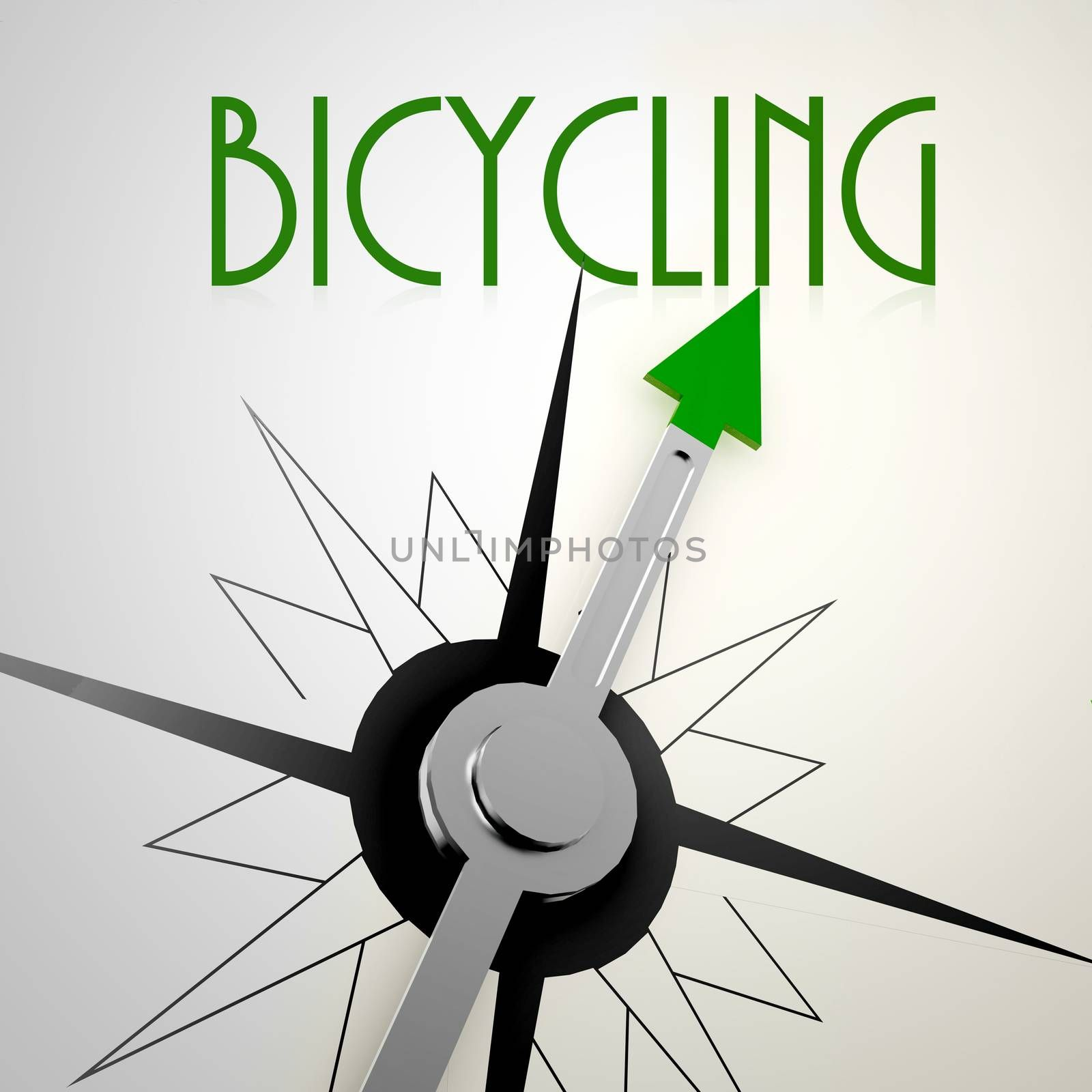 Bicycling on green compass. Concept of healthy lifestyle