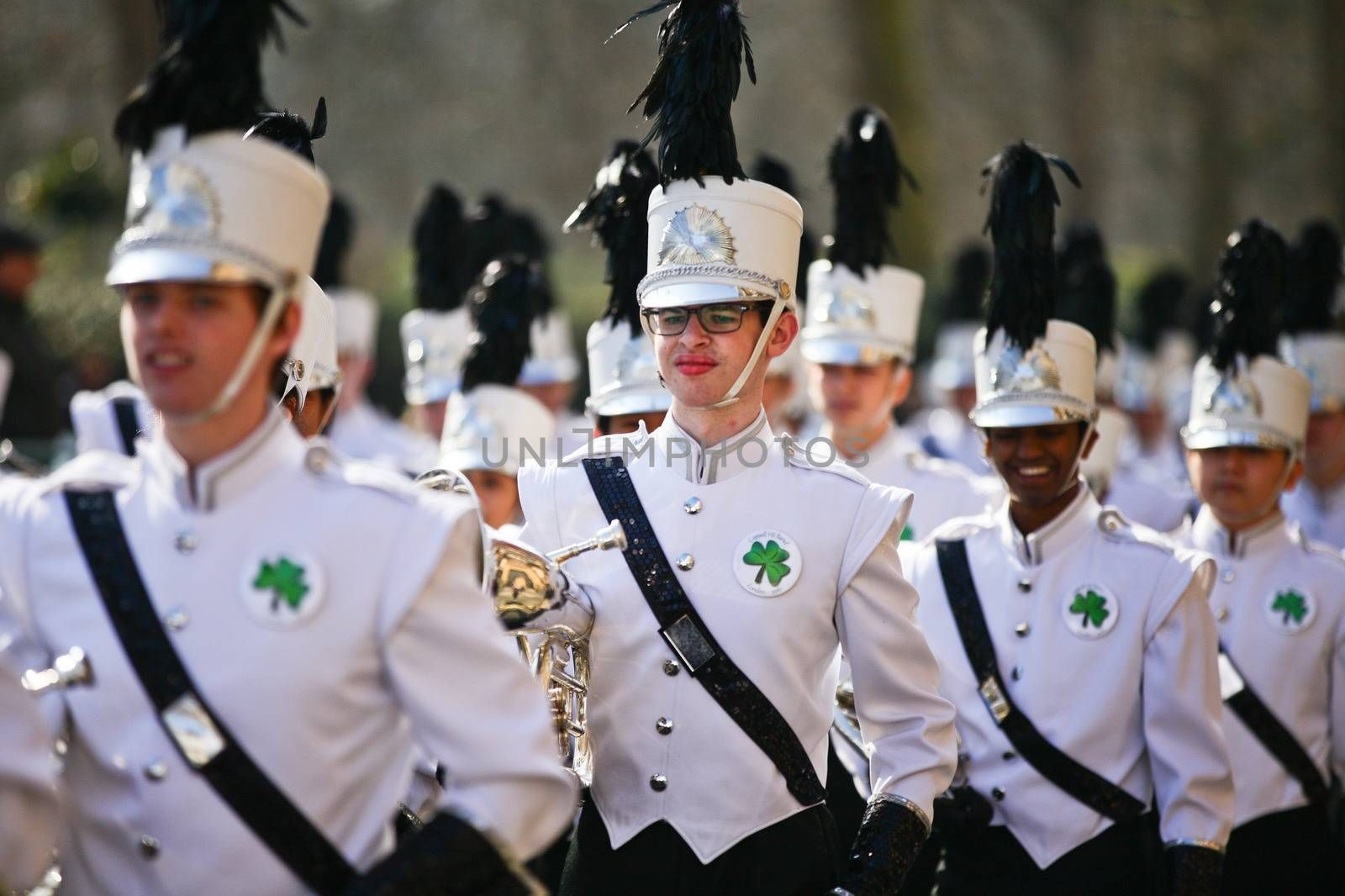 UNITED KINGDOM, London: Participants are pictured during St Patrick's Day parade near Trafalgar Square in London on March 13, 2016.