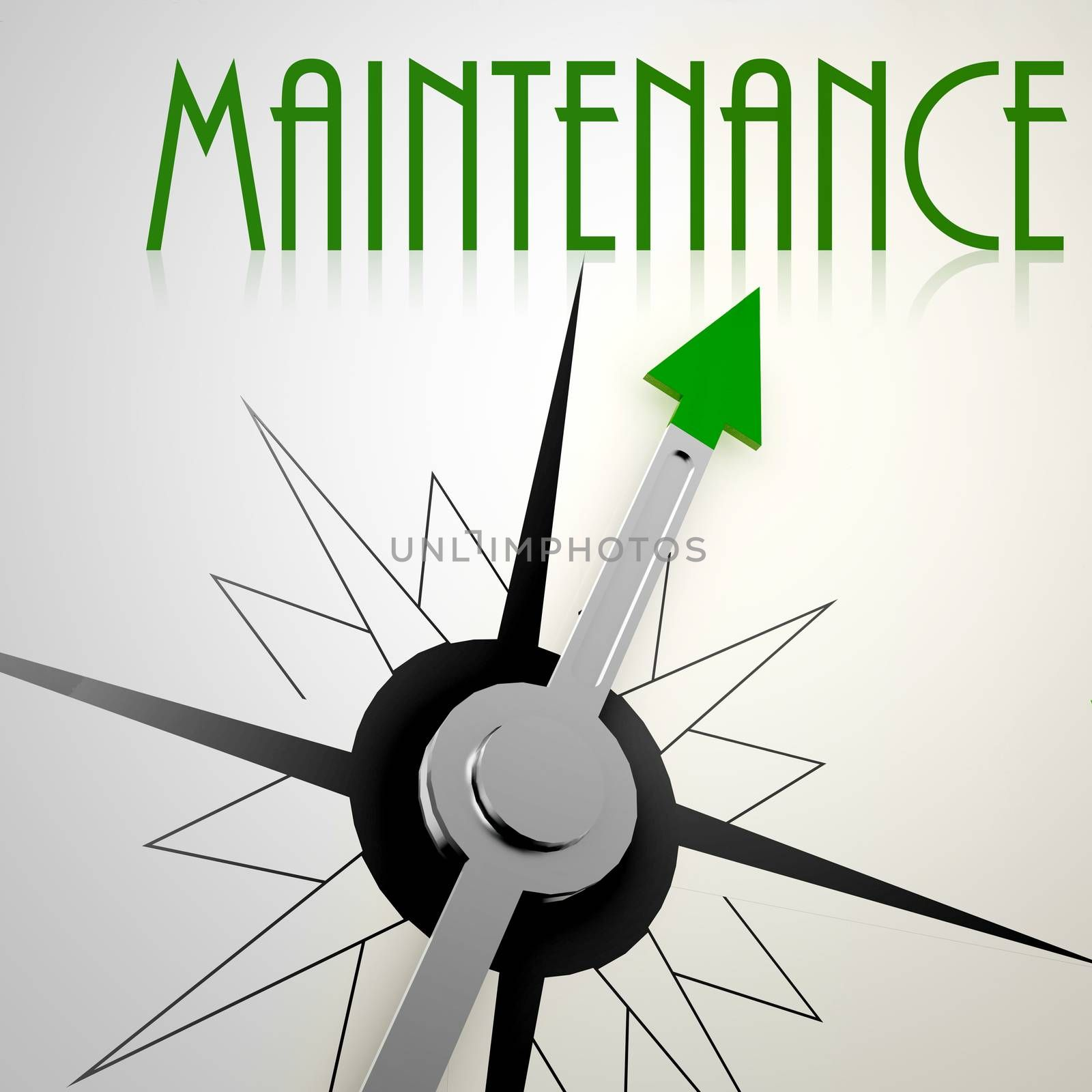 Maintenance on green compass. Concept of healthy lifestyle