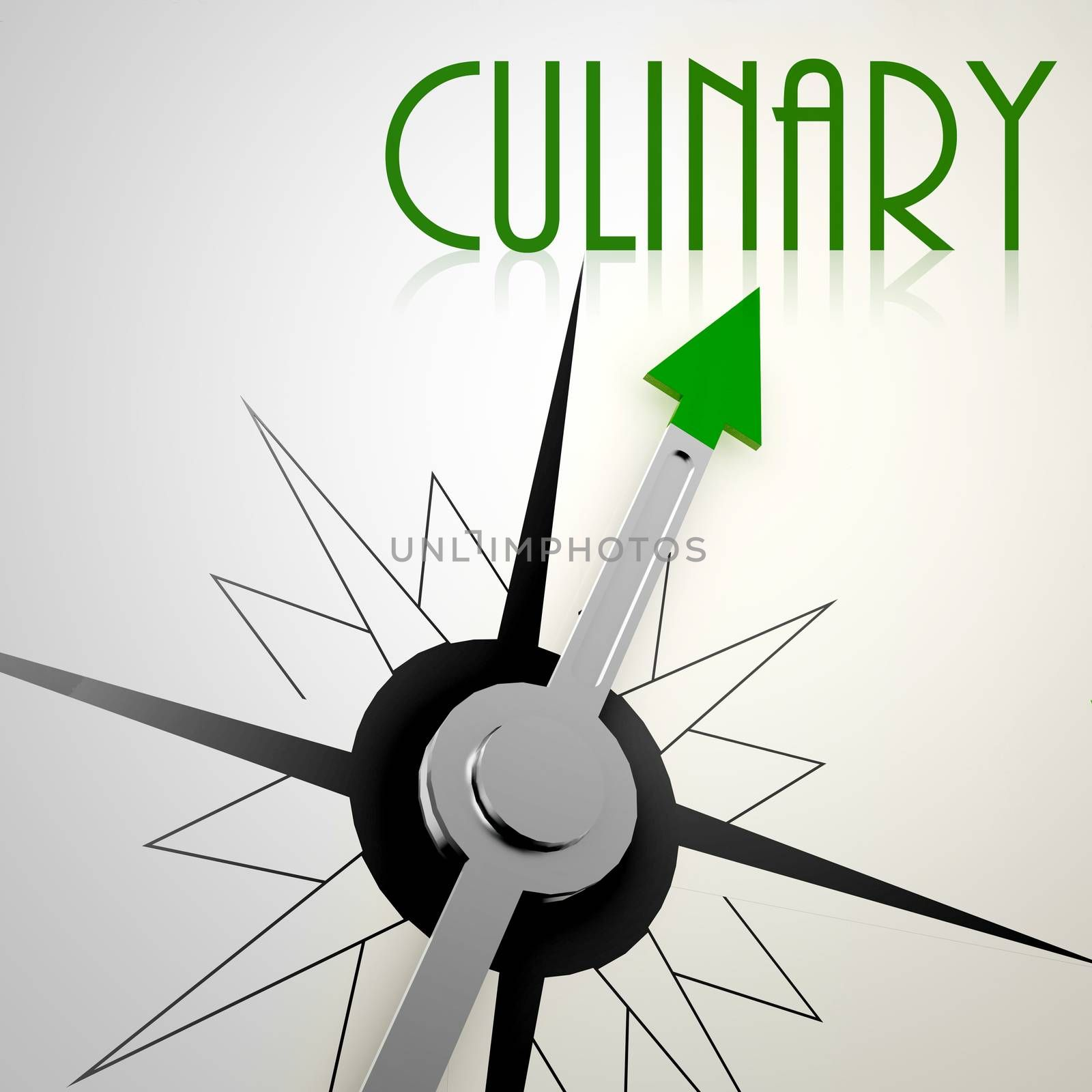 Culinary on green compass. Concept of healthy lifestyle