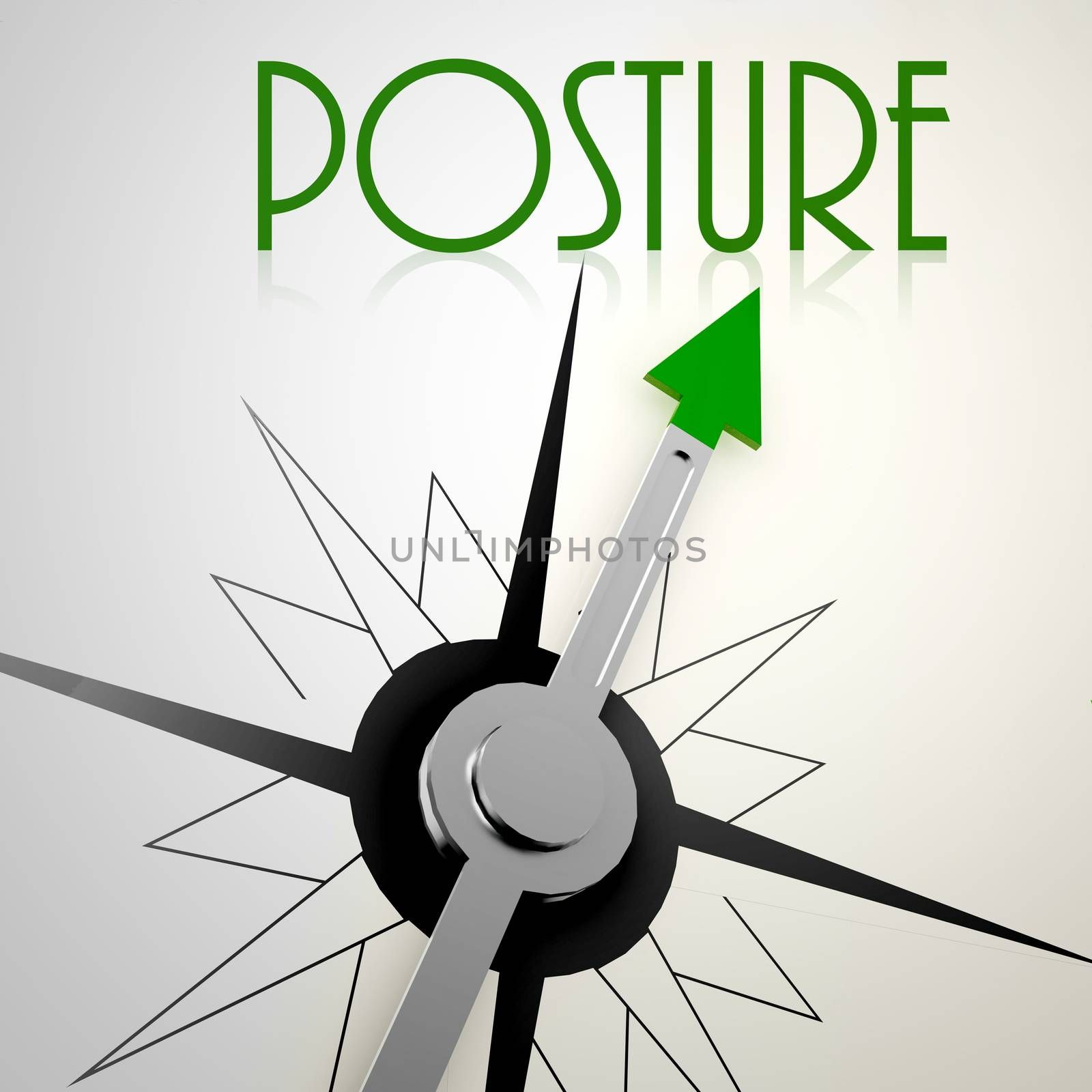 Posture on green compass. Concept of healthy lifestyle