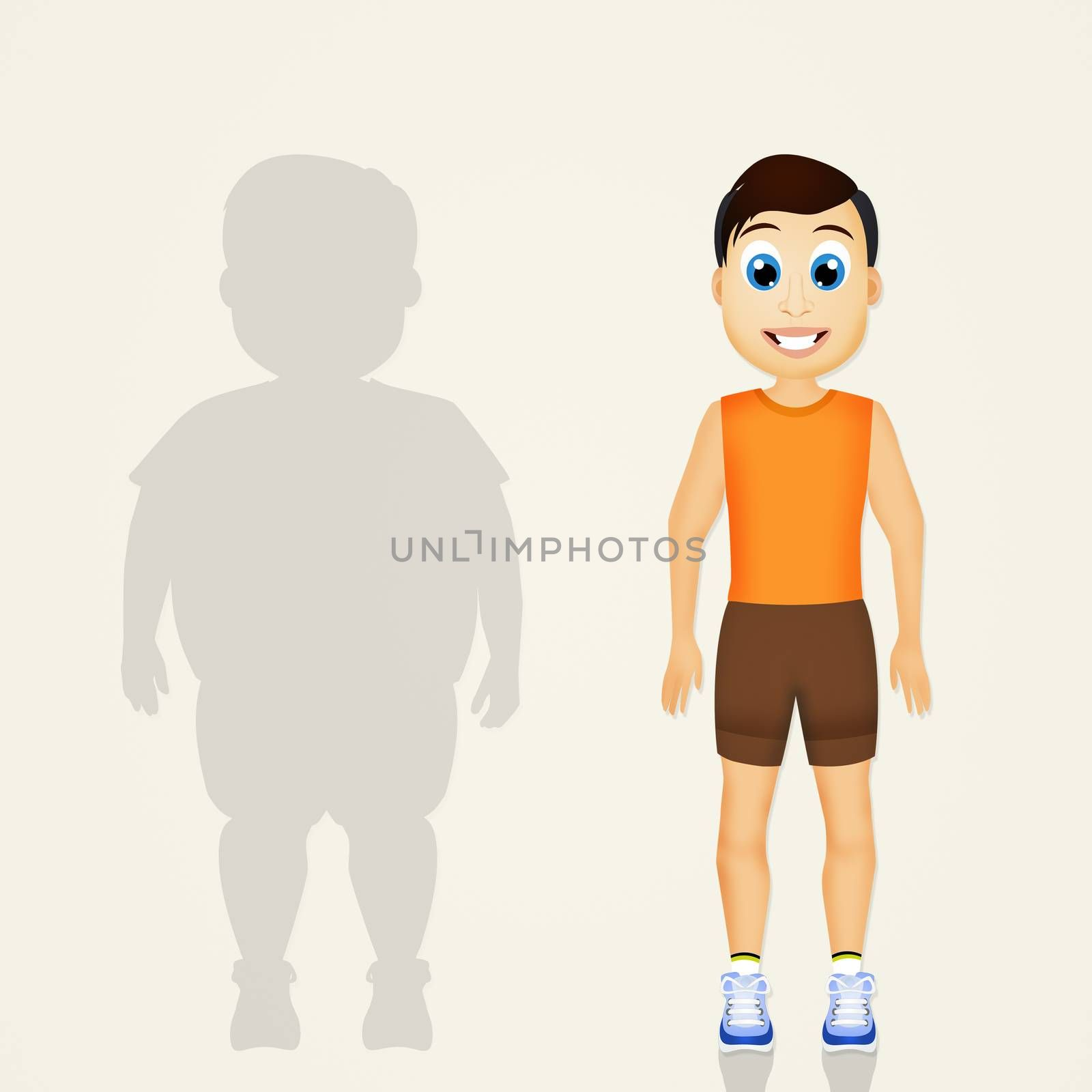 illustration of overweight man lifestyle changes