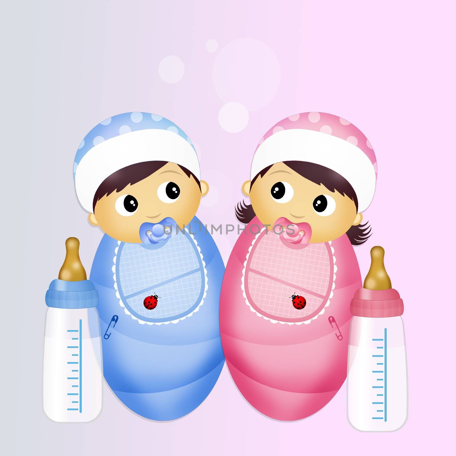 illustration of babies with baby bottle