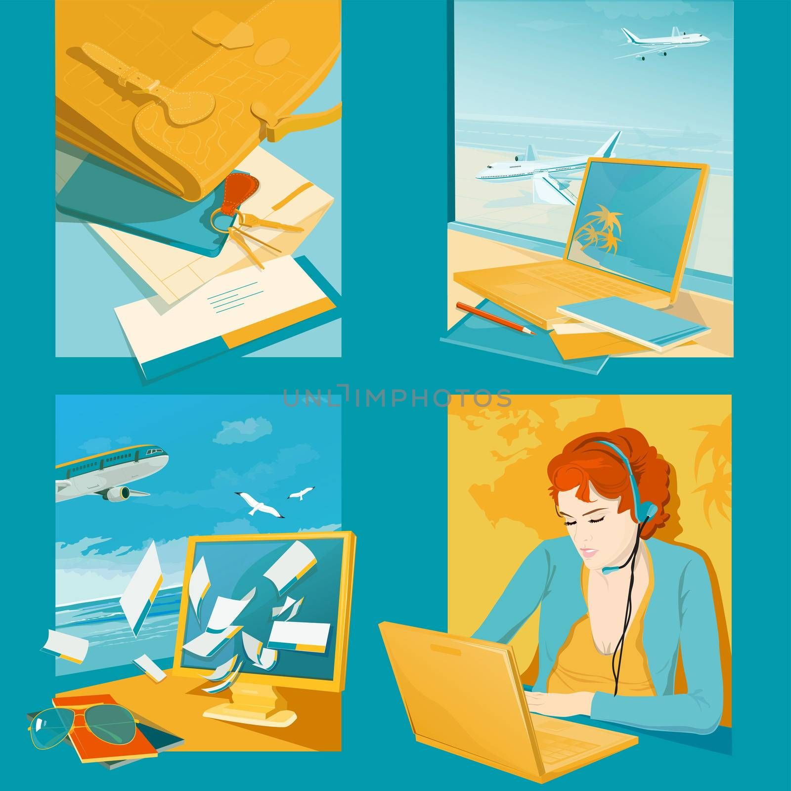 Travel agency illustrations. Four conceptual scene on blue backgroun