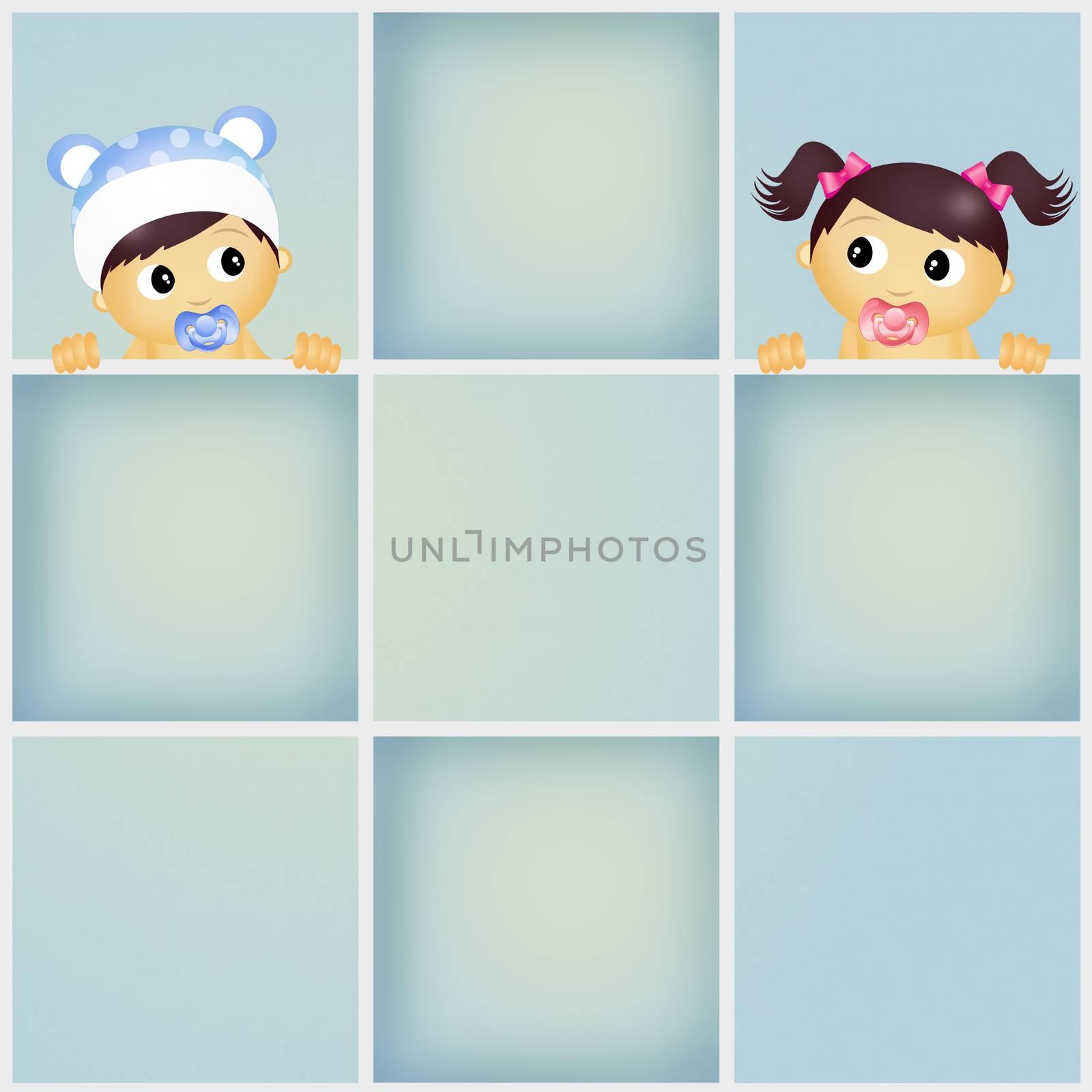 illustration of funny babies