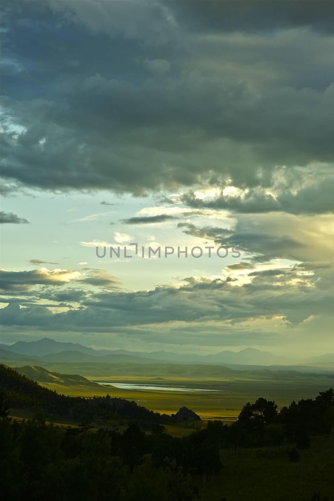 Summer Valley. Elevan Miles State Park Valley, Colorado. Summer Stormy Day.