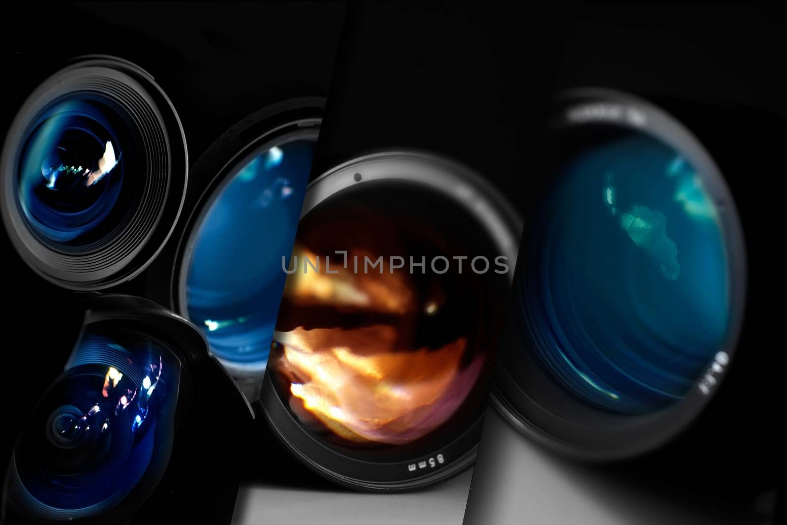 Cool Dark Photography Concept with Many Professional 35mm Lenses. Great PHotography Concept for Photographers, Photo Studios, Photo Blogs and Other Websites.