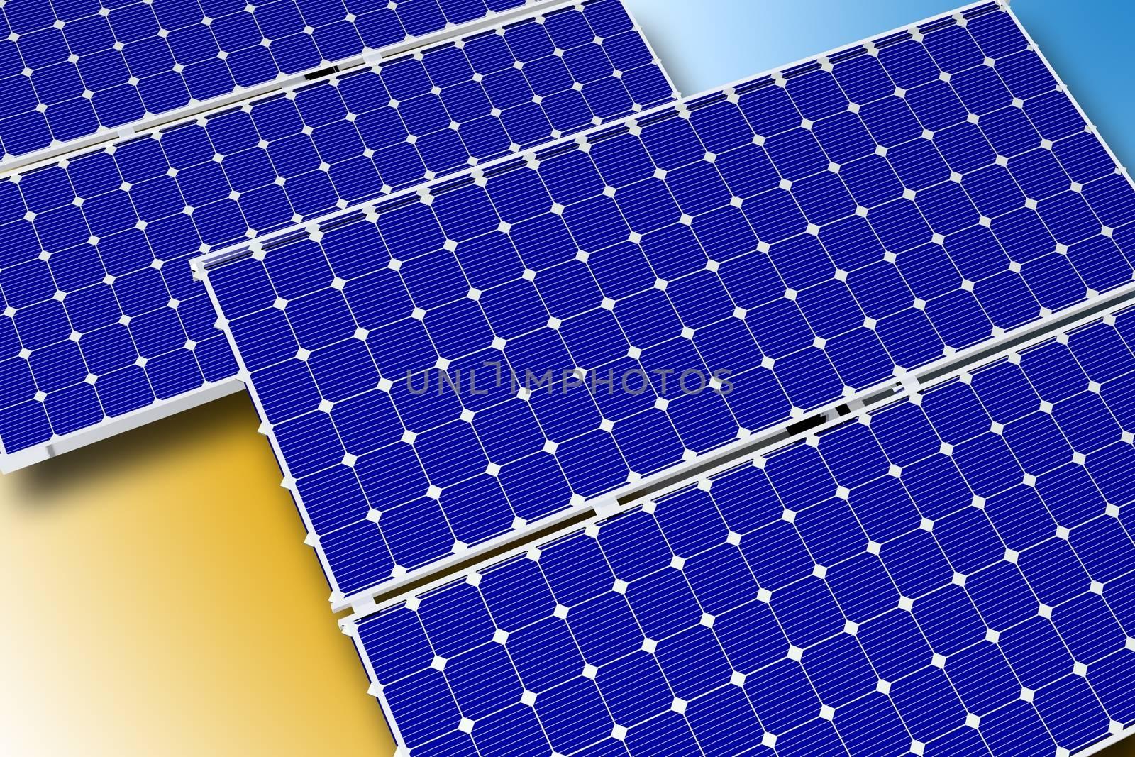 Solar Technology Theme. Photovoltaic Solar Panels. Horizontal Illustration. 3D Rendered Graphic.