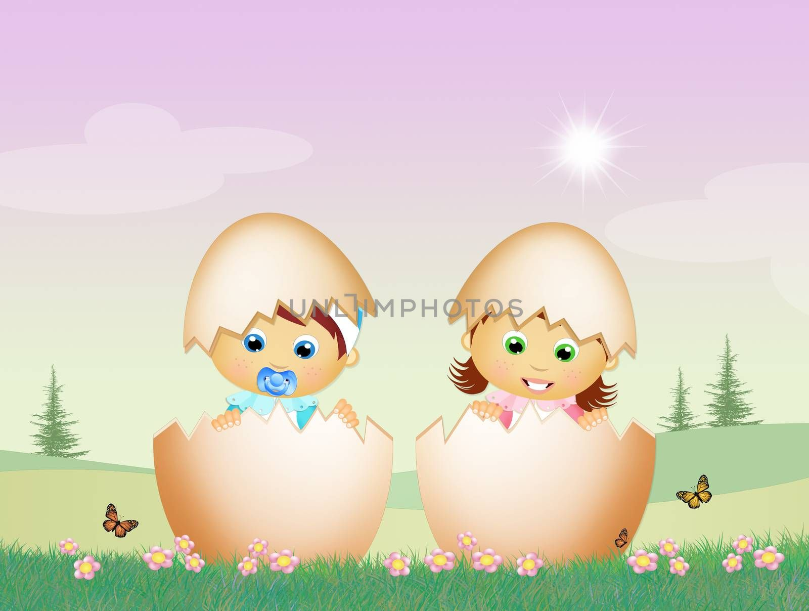 illustration of babies in the eggs