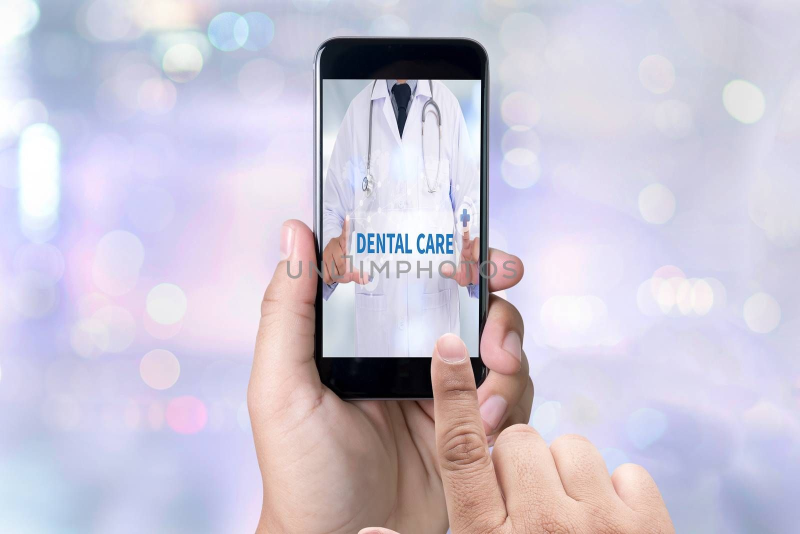 DENTAL CARE person holding a smartphone on blurred cityscape background