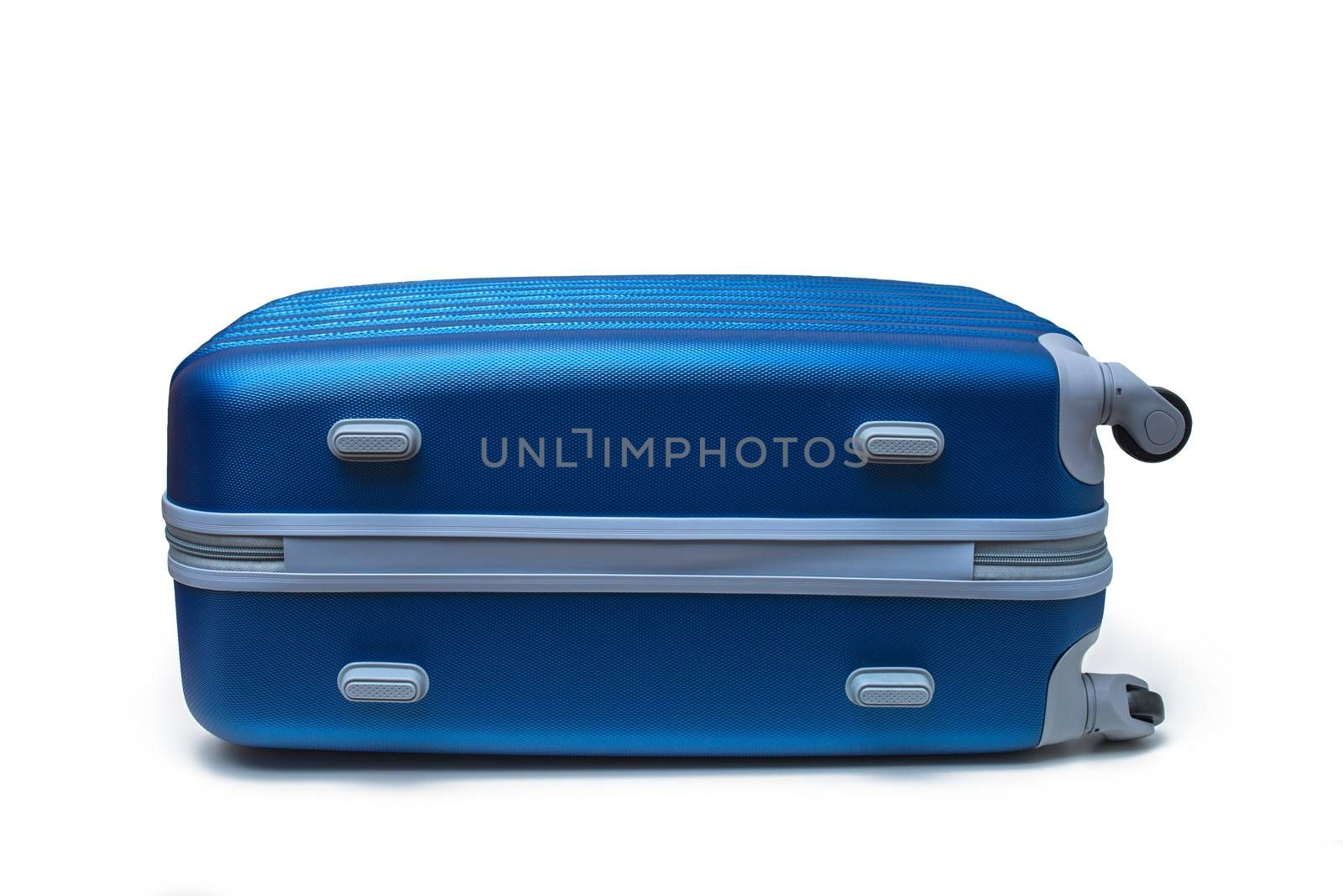 blue travel suitcase isolated on white with clipping path