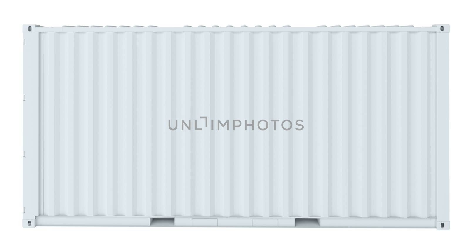 White cargo container. Side view. Transportation concept. 3d rendering