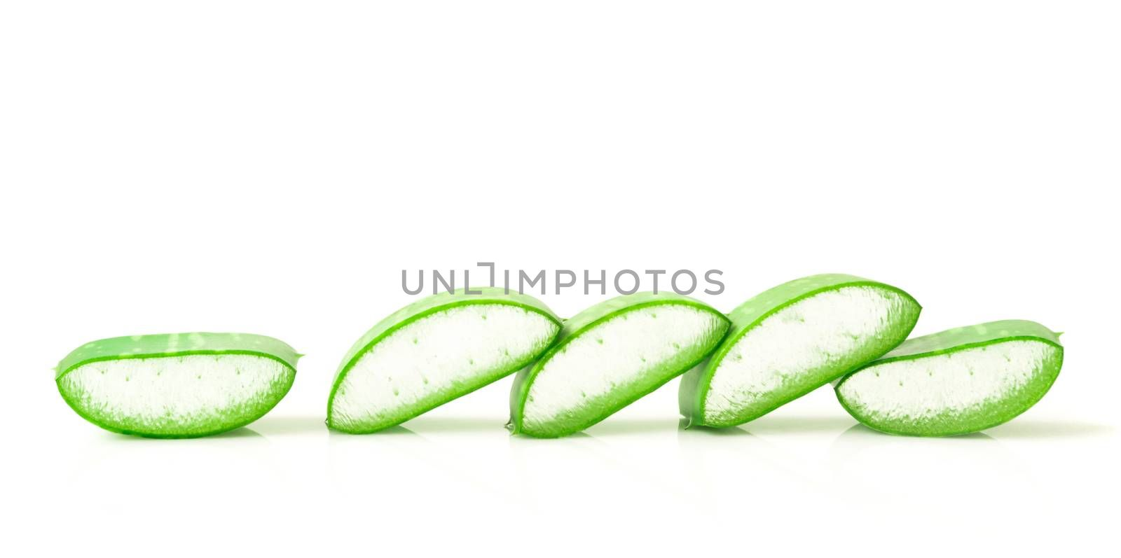 Aloe vera leaves with sliced on white background for beauty and healthy product concept