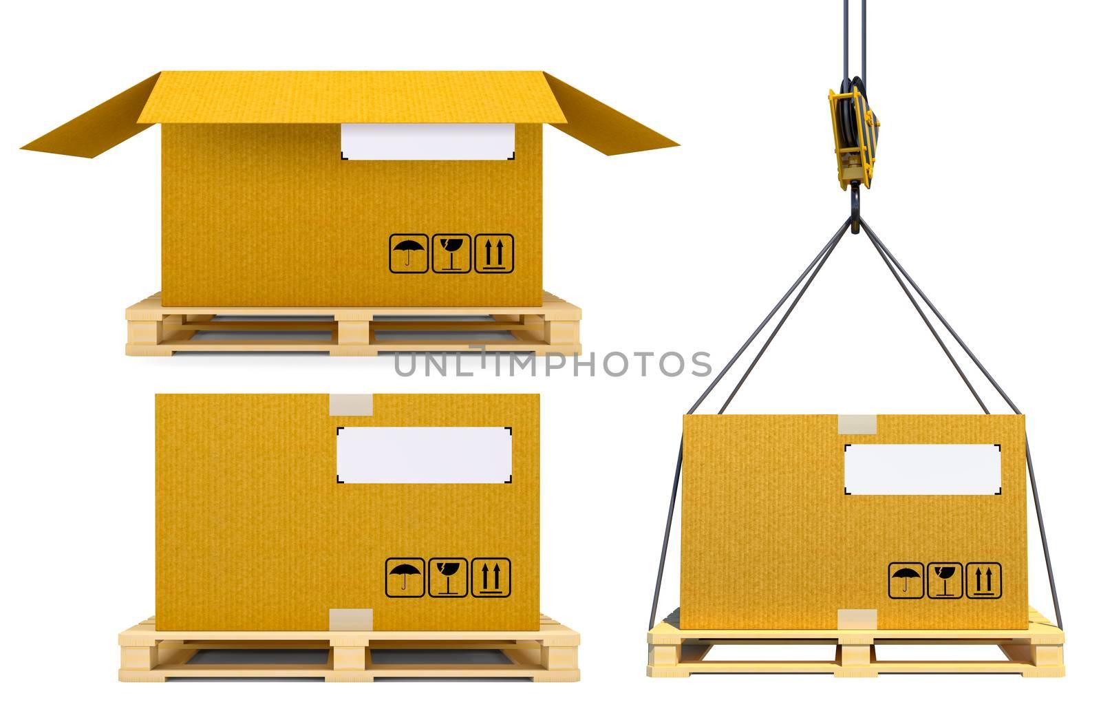 Cardboard boxes on pallet. Cargo, delivery and transportation concept. 3d illustration