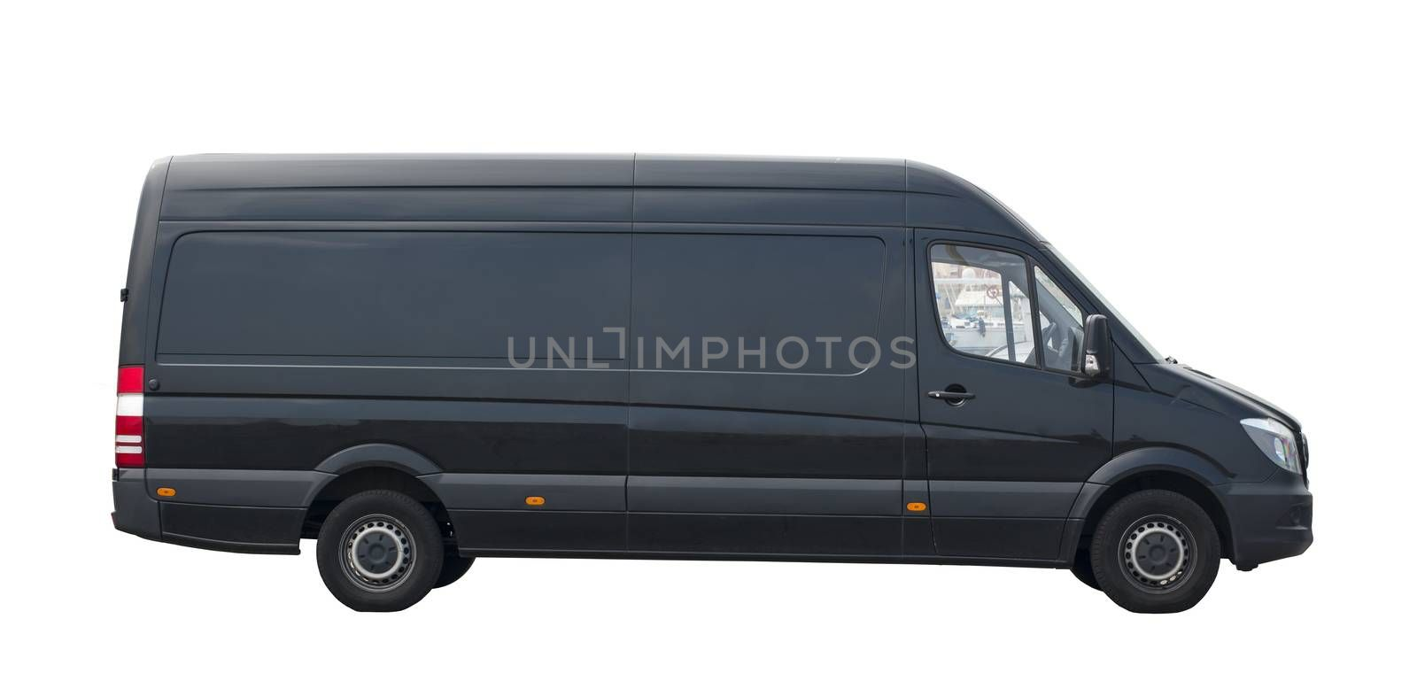 Transportation van on the white background. Empty space for your branding. Front view