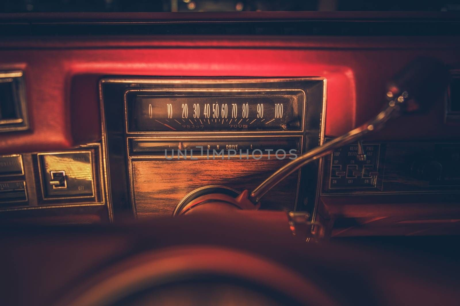 Vintage American Classic Car Dashboard with Speedometer. History of American Transportation