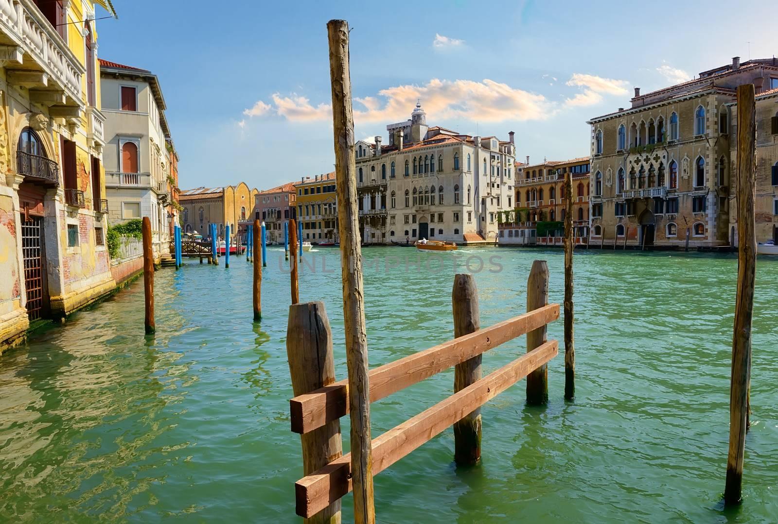 Sunny summer day in romantic Venice, Italy