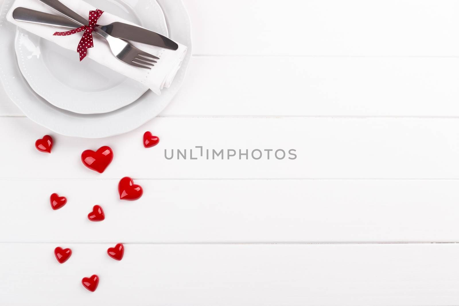Romantic table setting on white wooden table Valentine's day card template