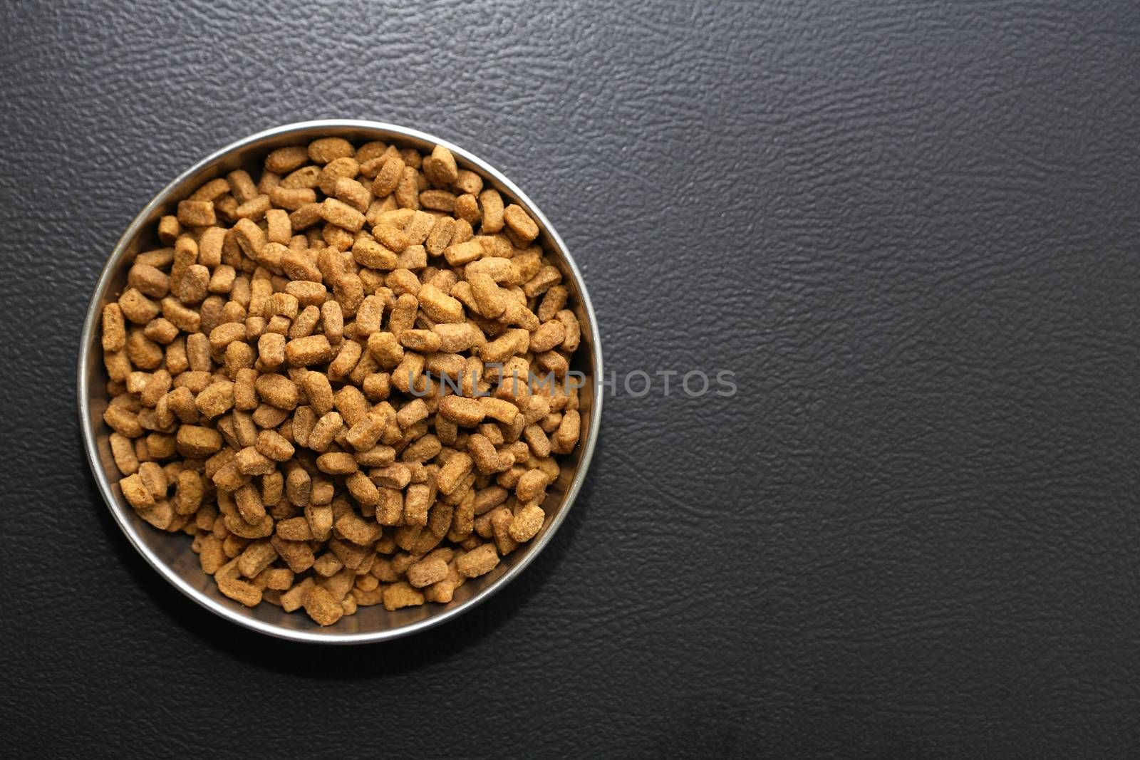 Bowl with dry food for domestic animals on black ceramic floor