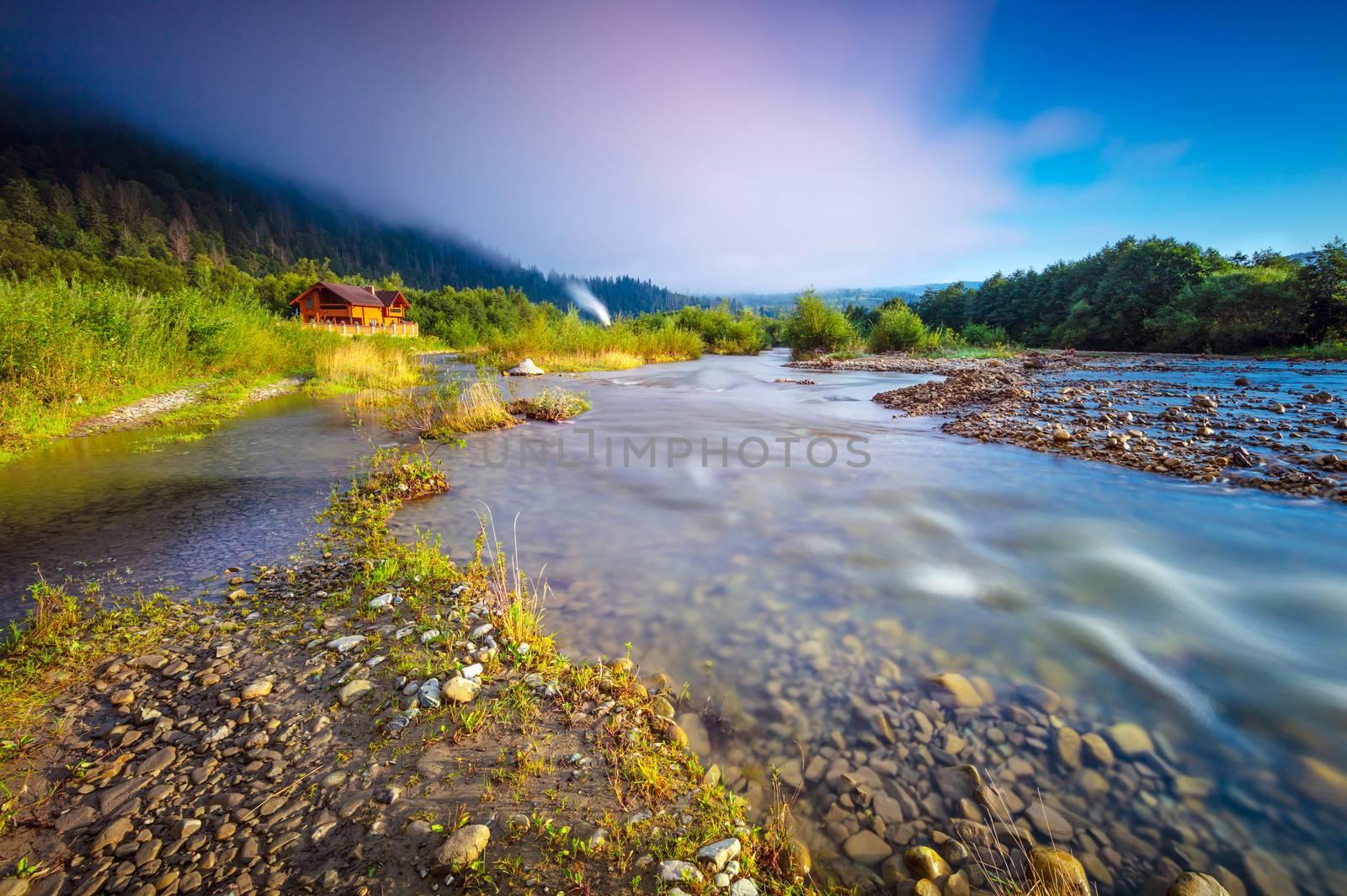Beauty of Carpathian mountains, panoramic landscape of amazing fresh nature of Yaremche, Mykulychyn, traveling along west Ukraine