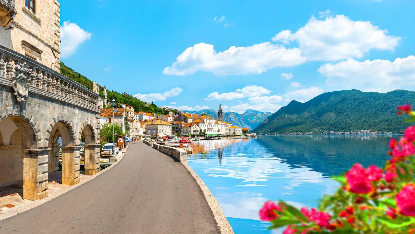 Historic city of Perast at Bay of Kotor in summer, Montenegro