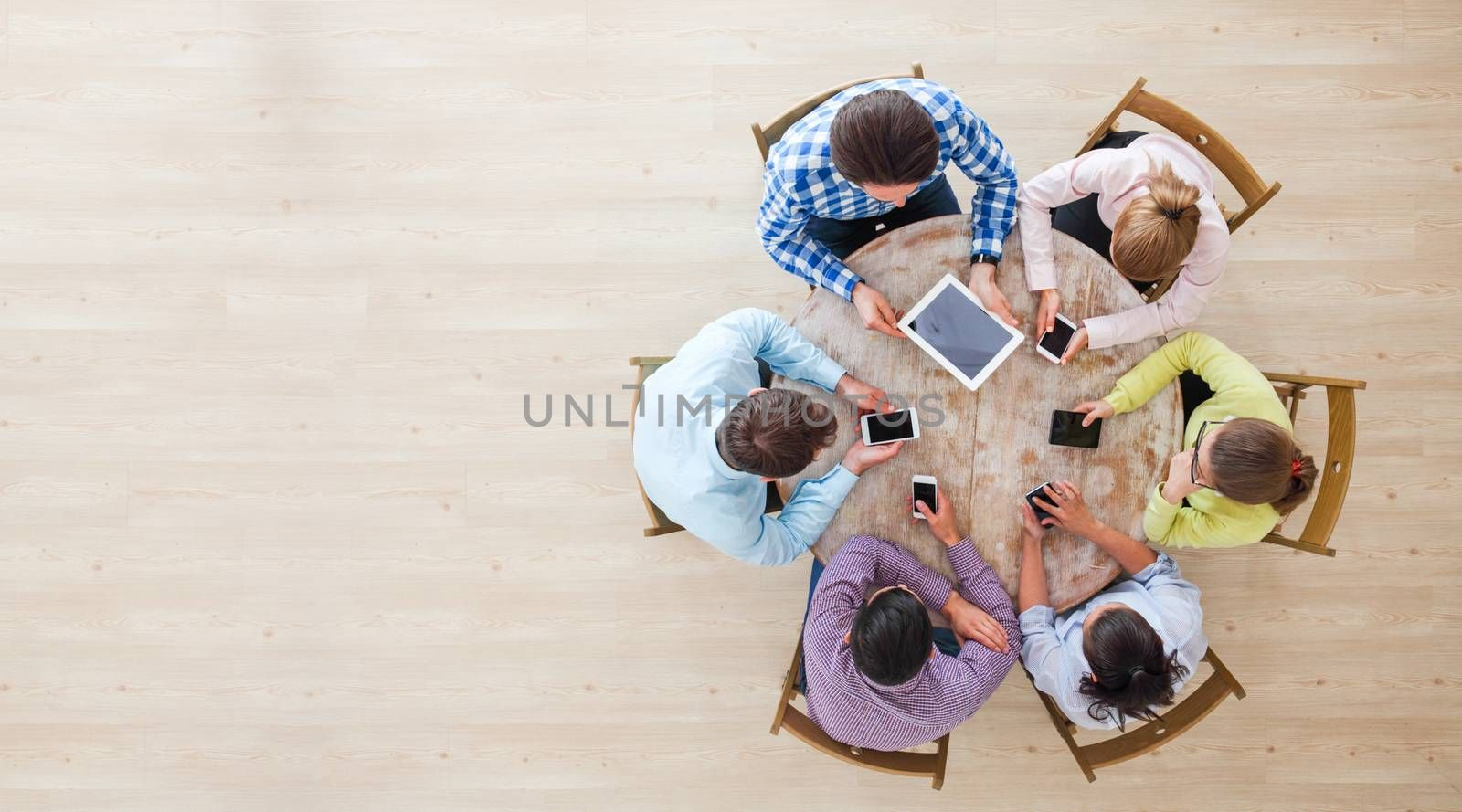Group of multi generation people use technology together of smartphones and tablets, internet lifestyle generation, top view with copy space