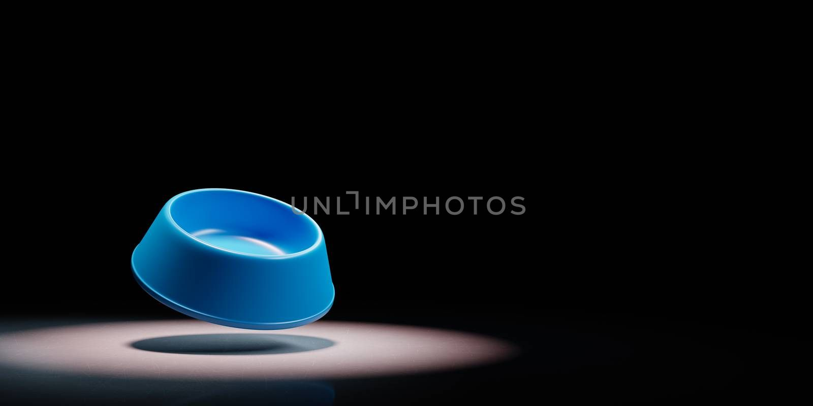 Empty Blue Plastic Pets Bowl Spotlighted on Black Background with Copy Space 3D Illustration