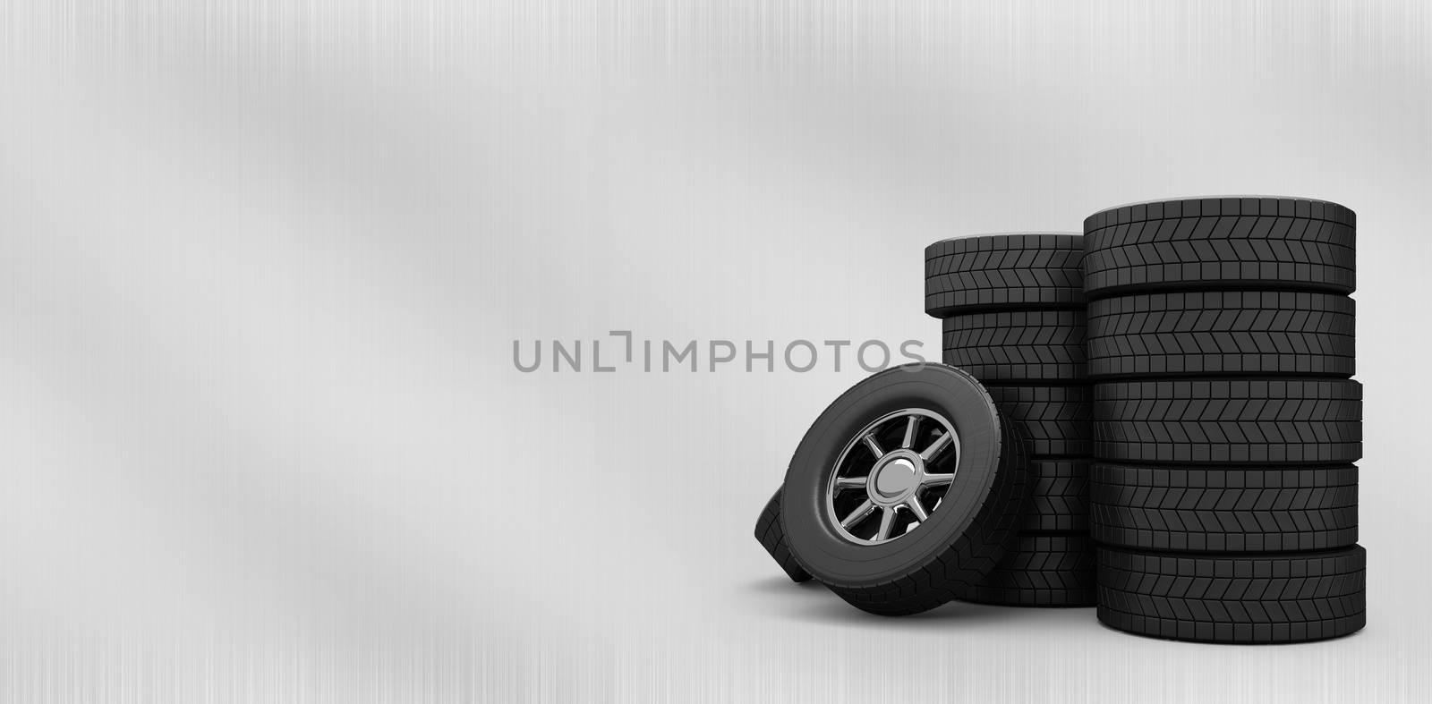Rows of tyres against black metal texture