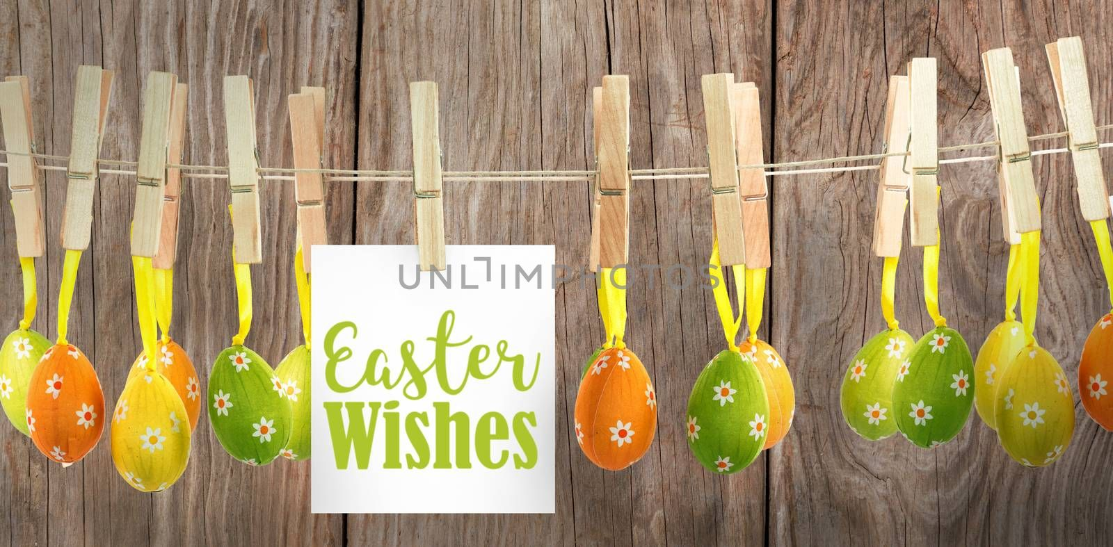 Easter greeting against close-up of wooden texture