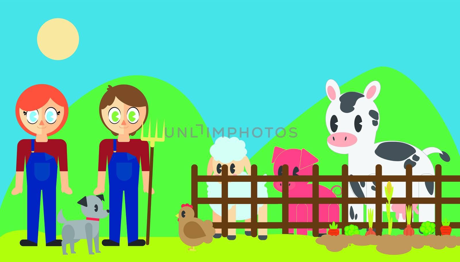 Farmers with pets in poultry farm by Wavebreakmedia