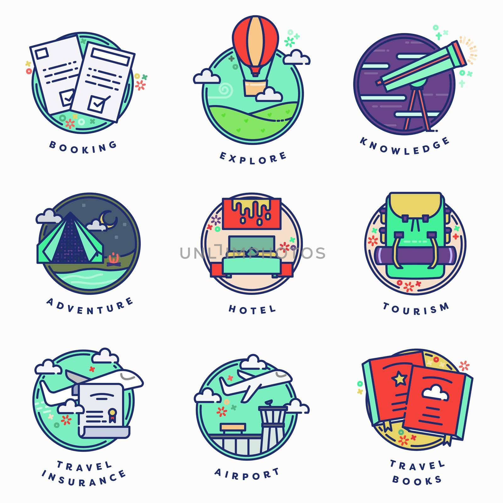 Vector icon set of travel against white background