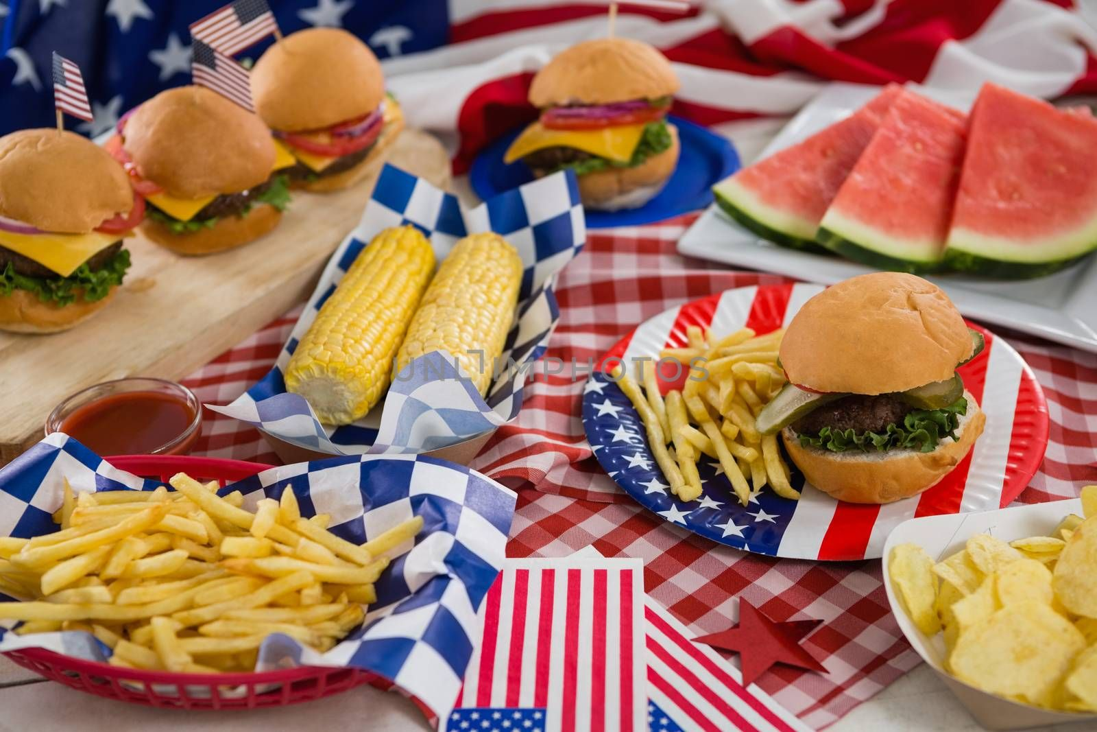 Close-up of breakfast with 4th july theme