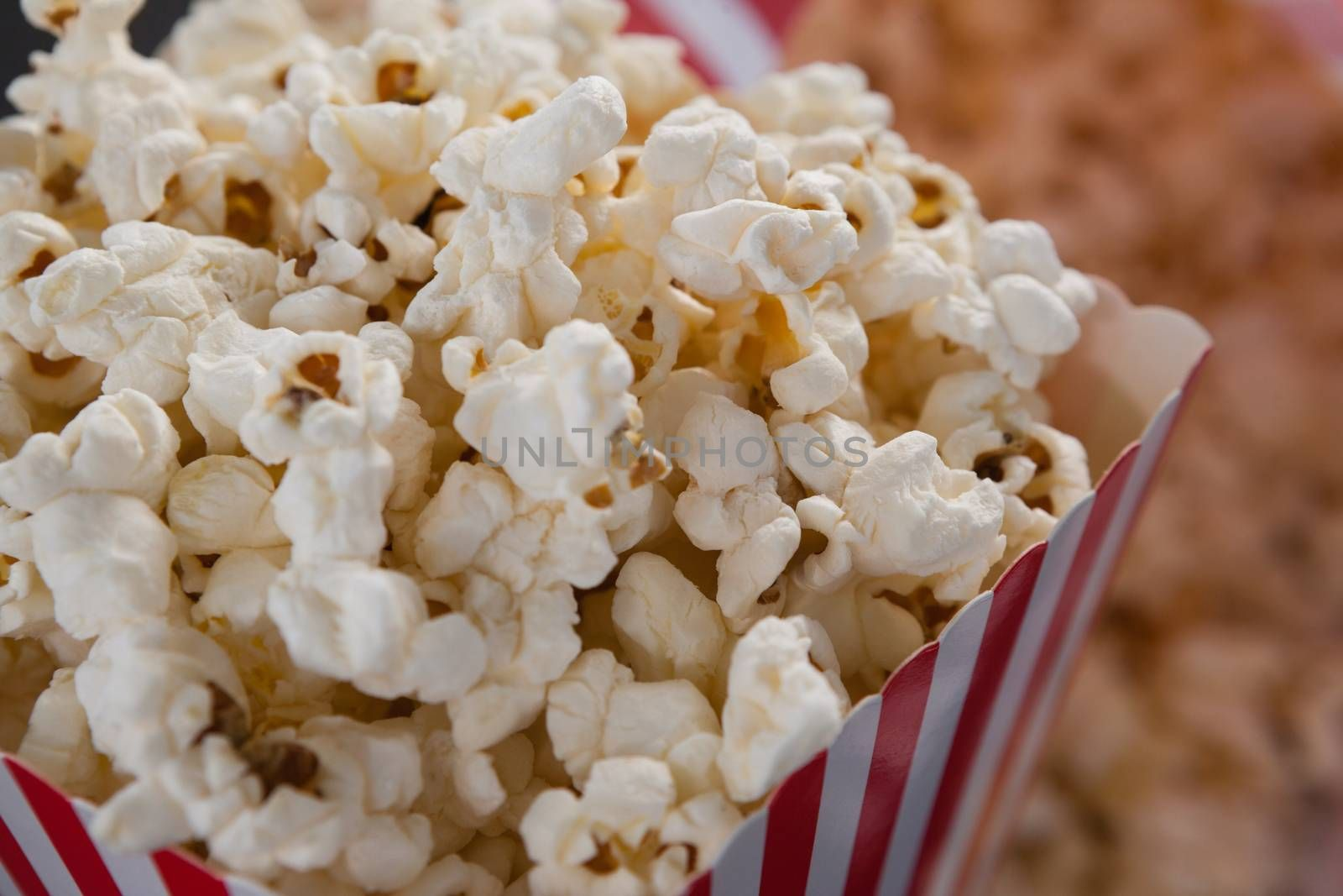 Close-up of popcorn with 4th july theme