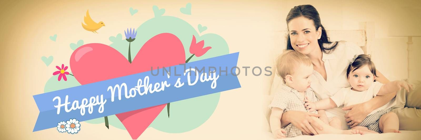 mothers day greeting against cheerful mother with cute babies
