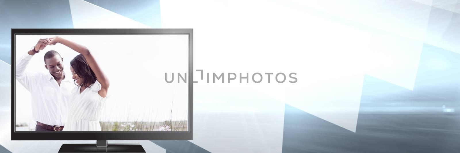 Digital composite of ROmantic couple on televisoin dancing
