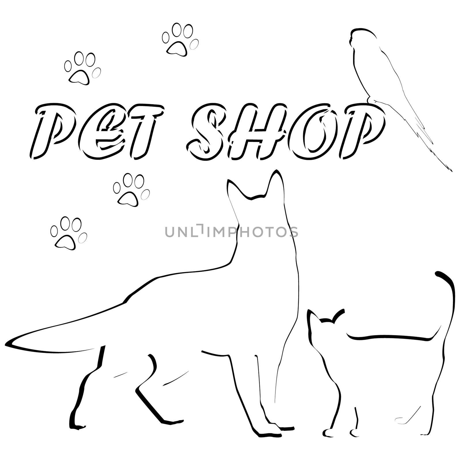 Group of pets for pet shop logo